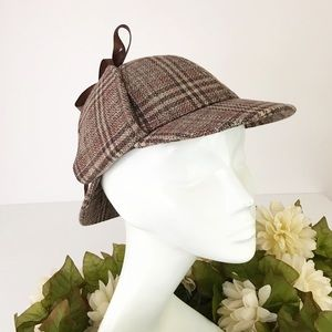 Sherlock Holmes Hat Brown Tweed Plaid XS Costume